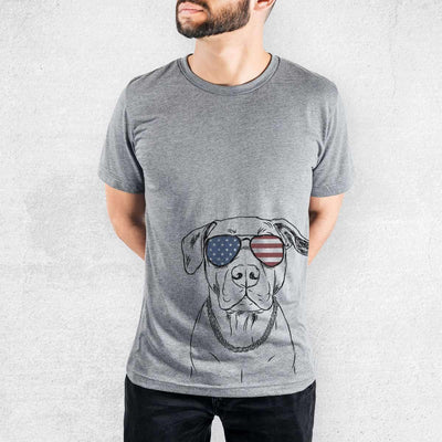 Kadin the Pitbull - American Flag Aviators - Tri-Blend Unisex Crew