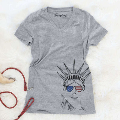 Lady Liberty  - Women's Modern Fit V-neck Shirt