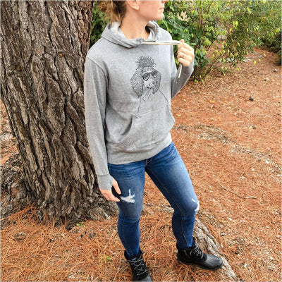Leo the Poodle - Grey French Terry Hooded Sweatshirt