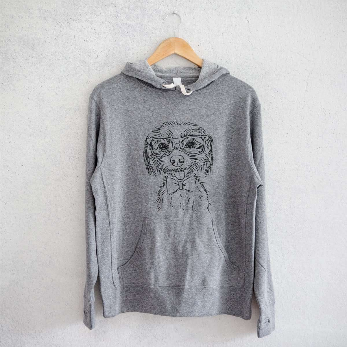 Mater the Yorkshire Terrier - Grey French Terry Hooded Sweatshirt