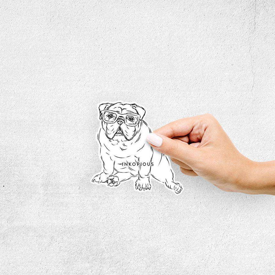 Oliver the Nerd Bulldog - Decal Sticker