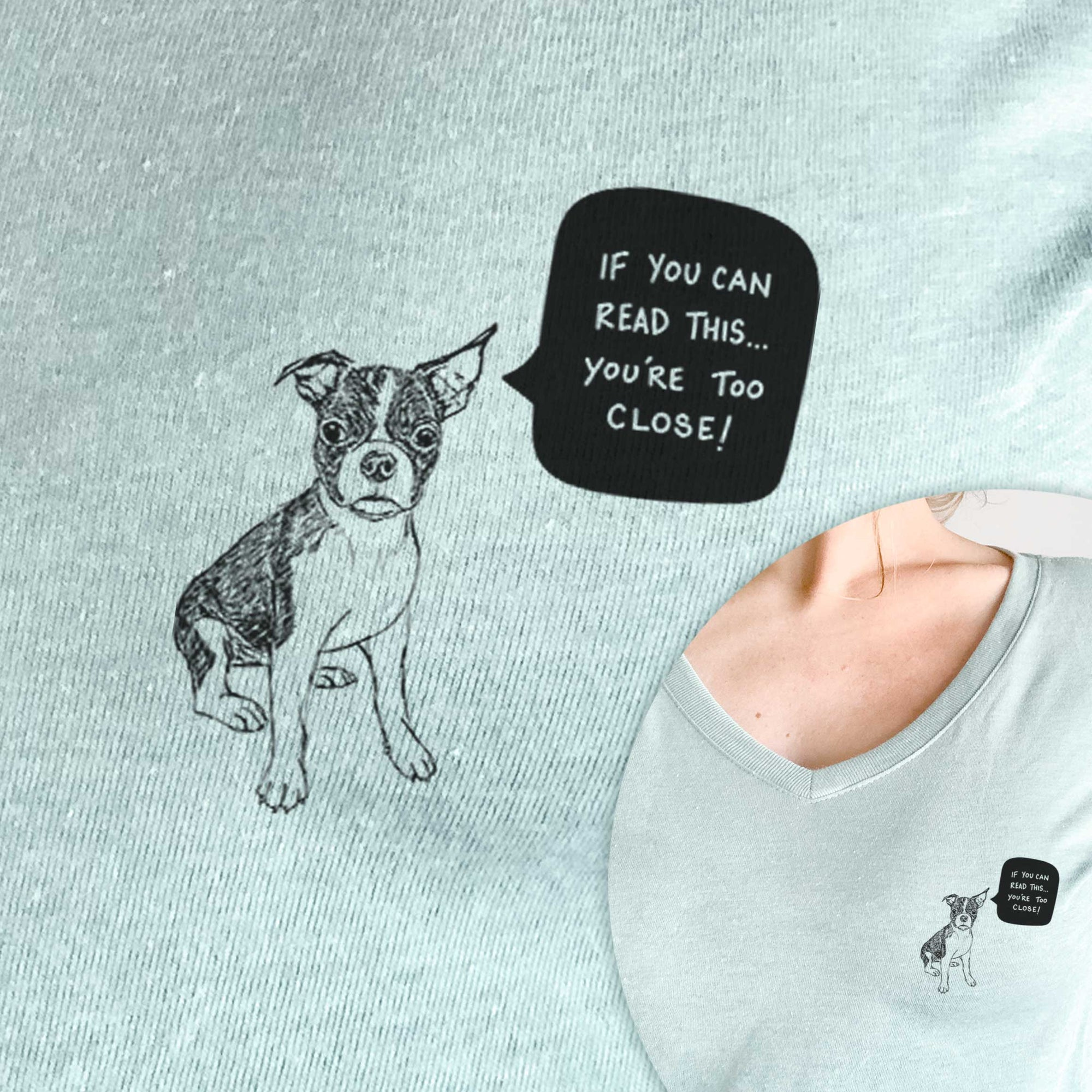 Too Close Boston Terrier Puppy  - Women's Perfect V-neck Shirt