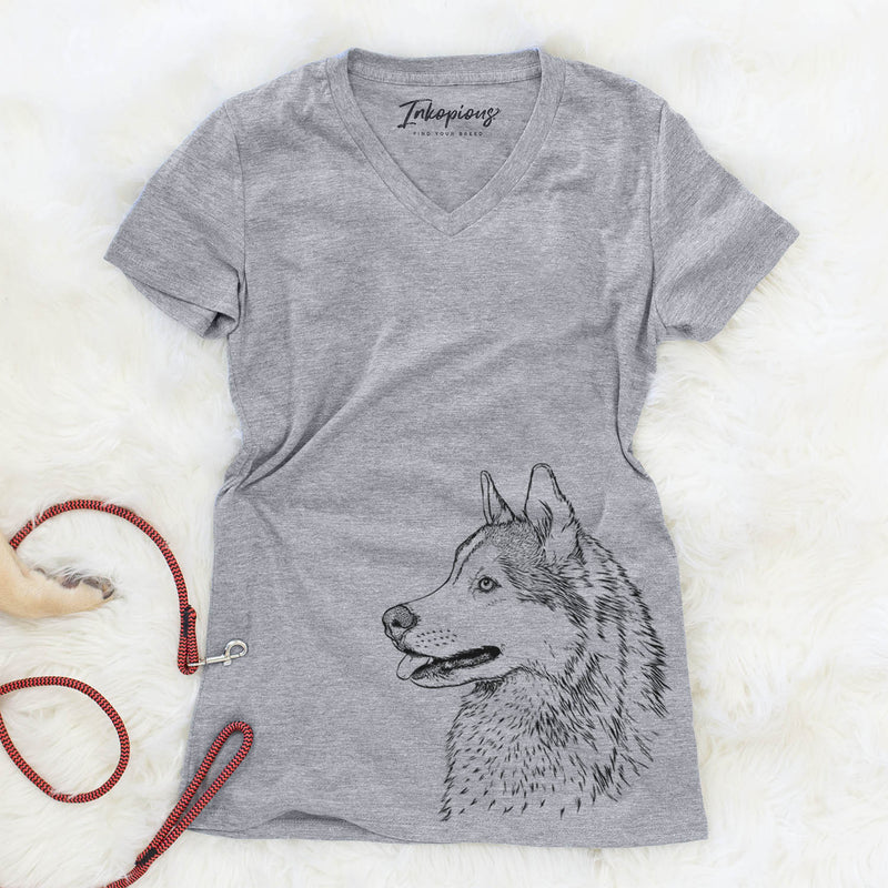 Profile Siberian Husky  - Women's Modern Fit V-neck Shirt