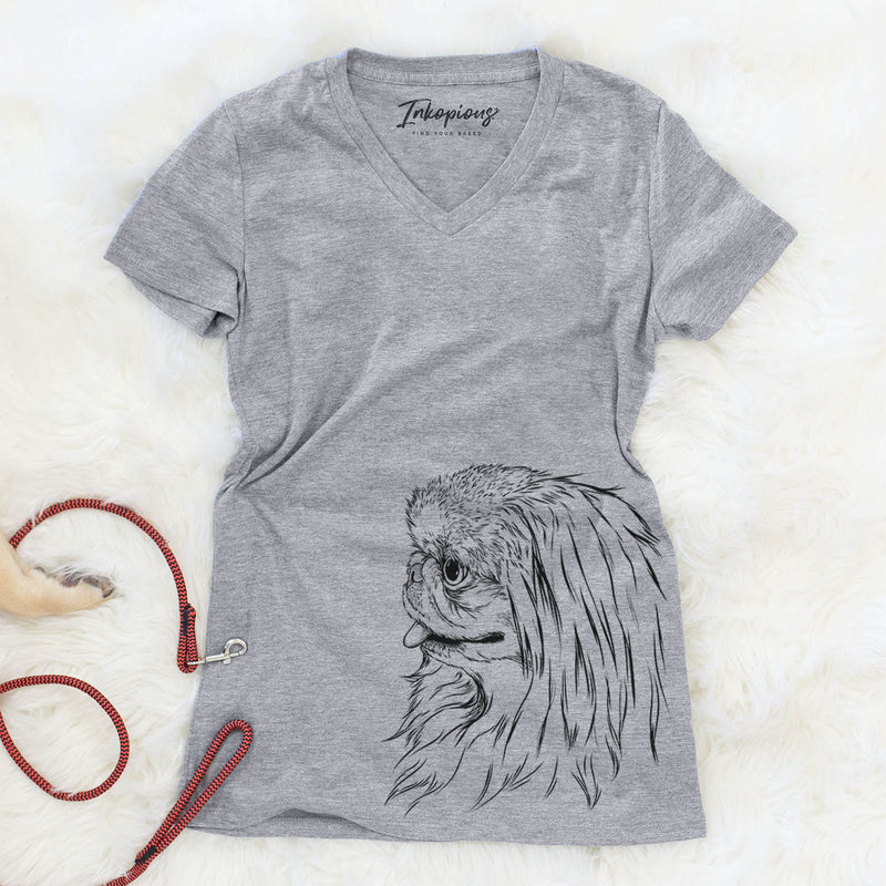 Profile Pekingese  - Women's Modern Fit V-neck Shirt