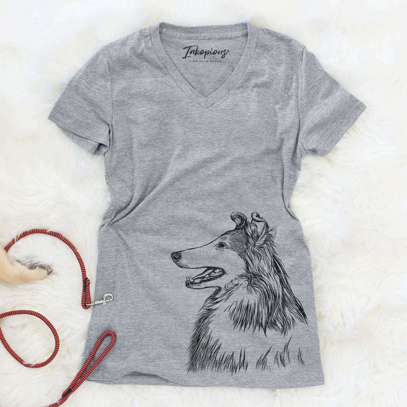 Profile Rough Collie  - Women's Modern Fit V-neck Shirt