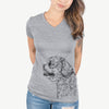 Profile Shih Tzu Puppy Cut  - Women's Modern Fit V-neck Shirt