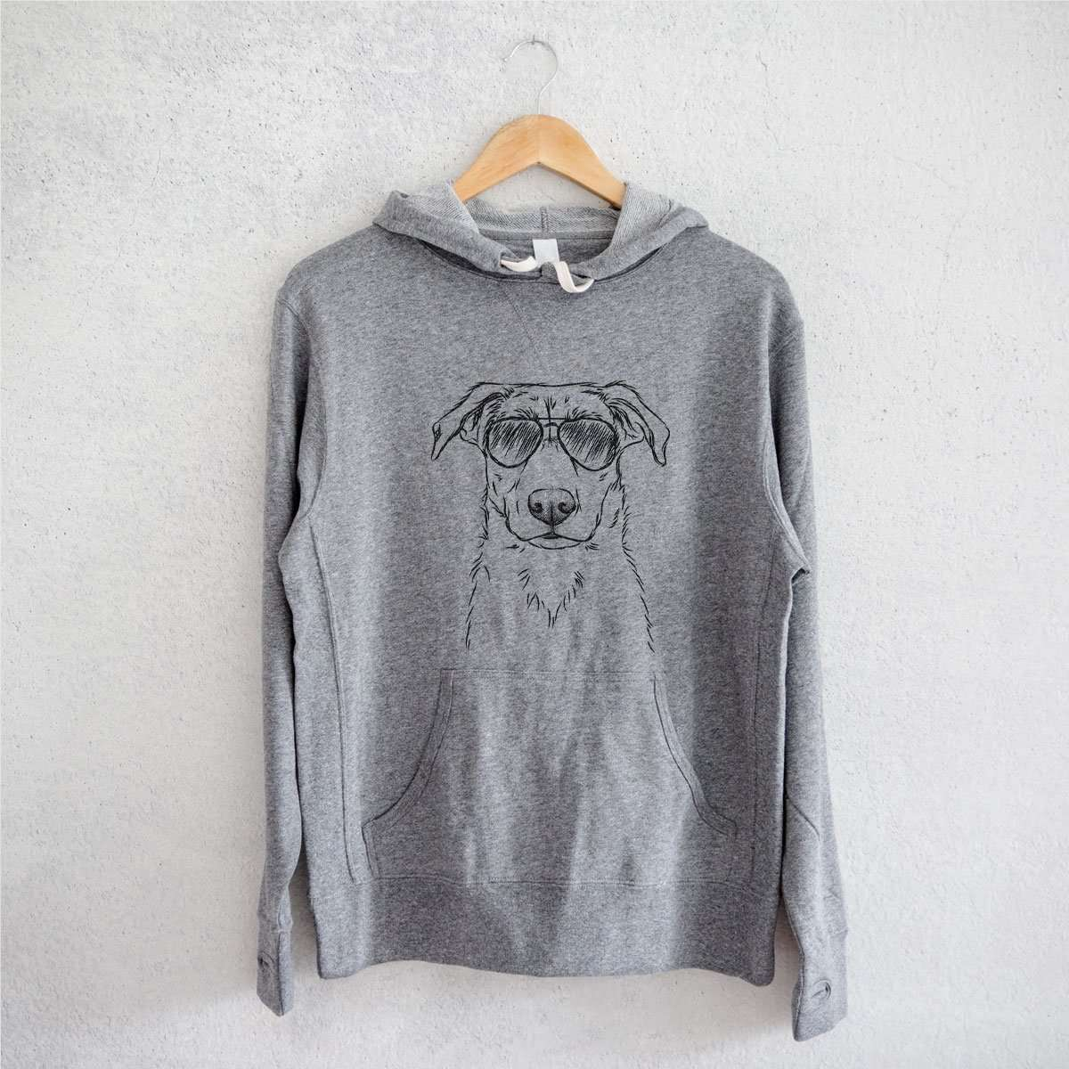 Peanut the Lab Mix - Grey French Terry Hooded Sweatshirt