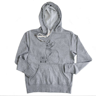 Check Meowt Hoodie - Grey French Terry Hooded Sweatshirt