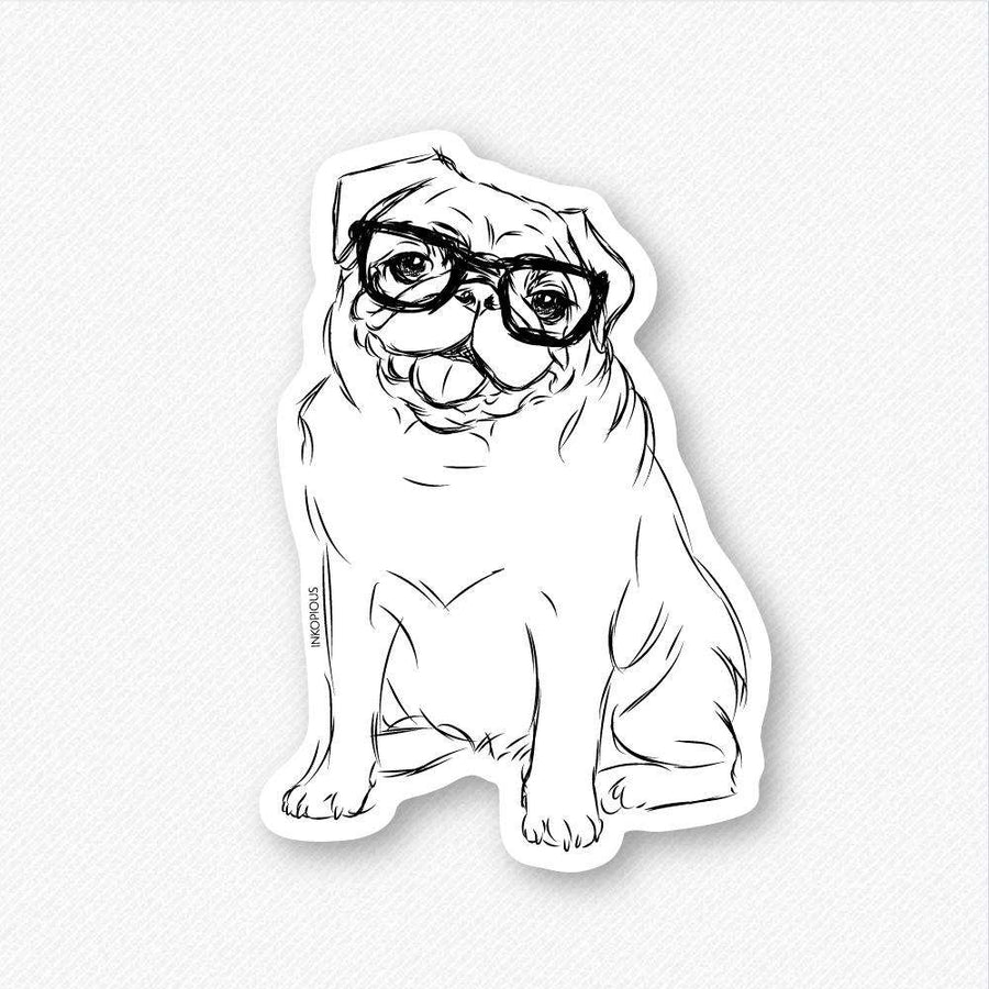 Higgins the Nerd Pug - Decal Sticker