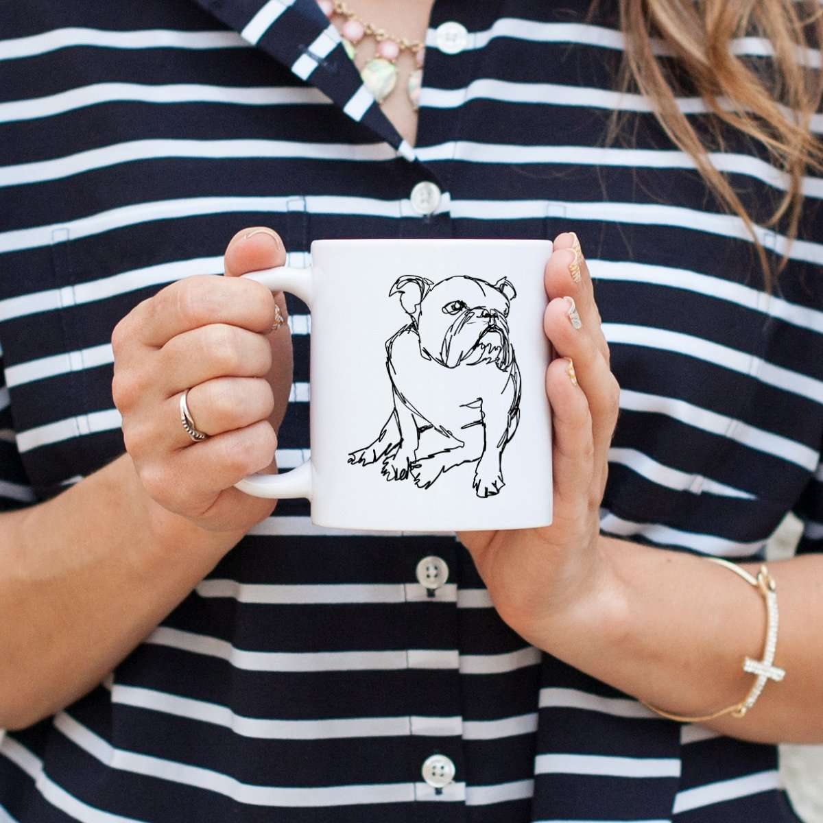 English Bulldog - Doodled - Mug