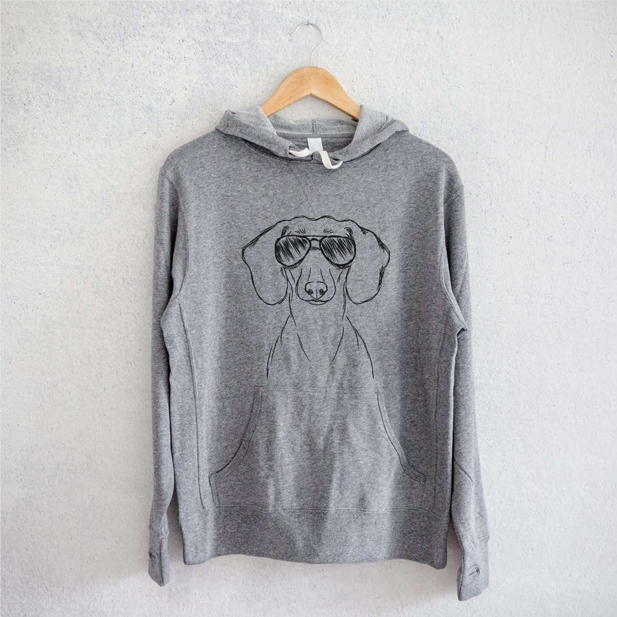 Hans the Dachshund - Grey French Terry Hooded Sweatshirt