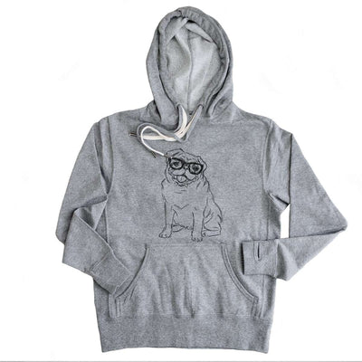 Higgins the Nerd Pug - Grey French Terry Hooded Sweatshirt