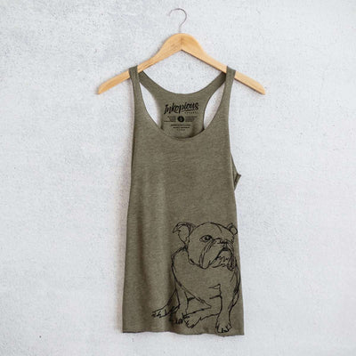 English Bulldog - Doodled - Tri-Blend Racerback Tank