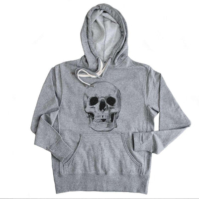 Human Skull - Grey French Terry Sweatshirt - Unisex Slim Fit