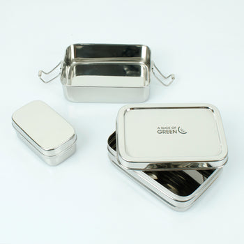 Two Tier Rectangle Lunch Box with Mini Container - Panna