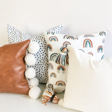 Load image into Gallery viewer, Playroom Pillow - Fresh Snow w/ Rainbow Tassels