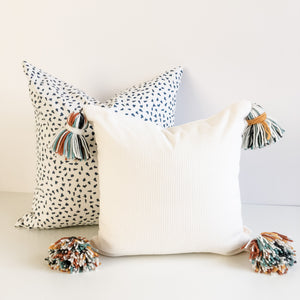 Playroom Pillow - Fresh Snow w/ Rainbow Tassels