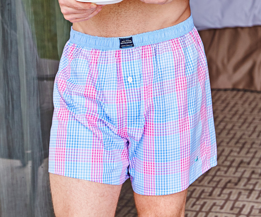 Southern Marsh Hanover Gingham Boxer Shorts in Navy and Blue