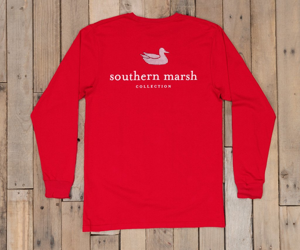 Crimson with Houndstooth | Authentic Collegiate Tee | Long Sleeve T-Shirt | Cotton Pocket Tee | Southern Duck