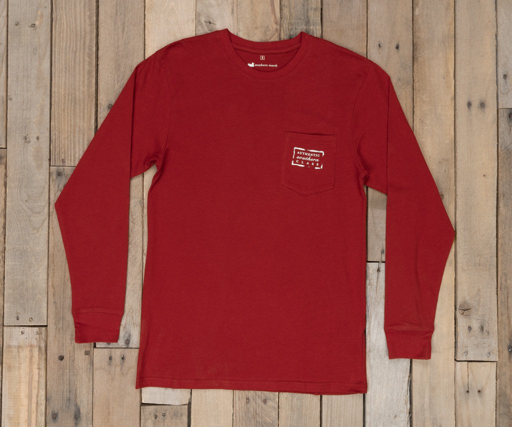 Maroon | Authentic Collegiate Tee | Long Sleeve T-Shirt | Cotton Pocket Tee | Southern Duck
