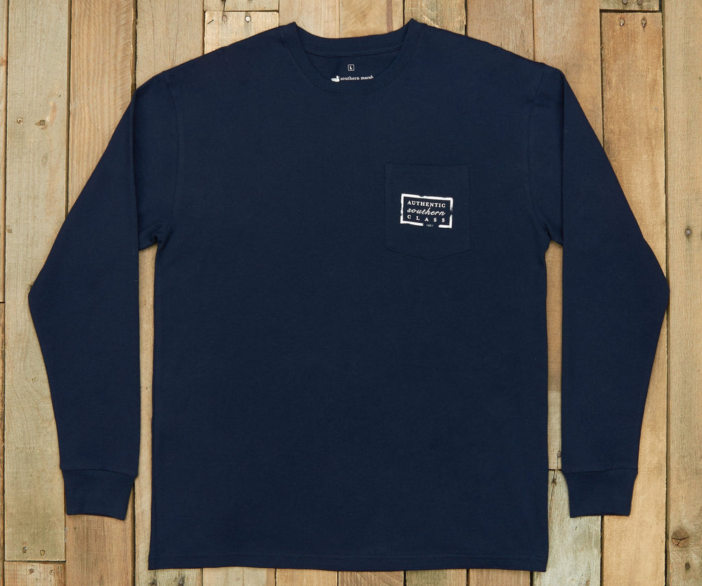Navy | Authentic Collegiate Tee | Long Sleeve T-Shirt | Cotton Pocket Tee | Southern Duck