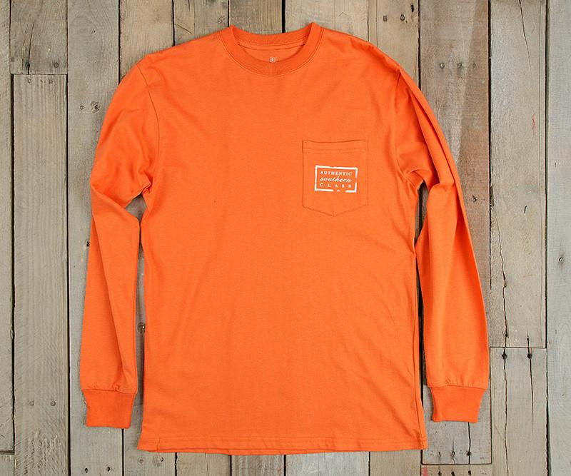 Orange | Authentic Collegiate Tee | Long Sleeve T-Shirt | Cotton Pocket Tee | Southern Duck