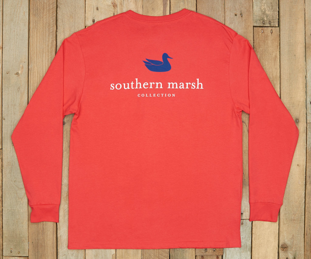 Red with Navy | Authentic Collegiate Tee | Long Sleeve T-Shirt | Cotton Pocket Tee | Southern Duck