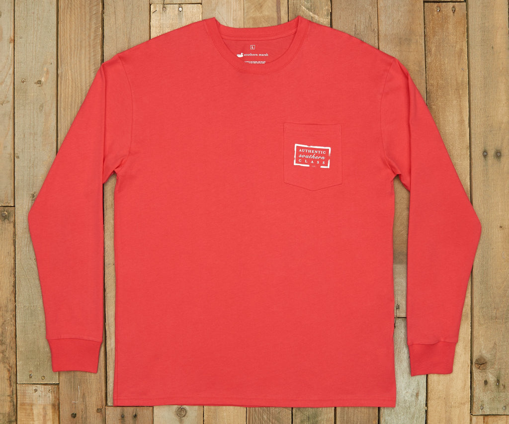Red with Black | Authentic Collegiate Tee | Long Sleeve T-Shirt | Cotton Pocket Tee | Southern Duck