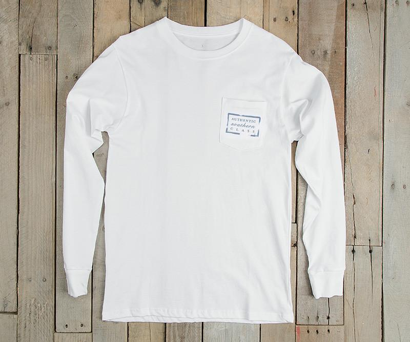 White with Baby Blue Duck | Authentic Collegiate Tee | Long Sleeve T-Shirt | Cotton Pocket Tee | Southern Duck