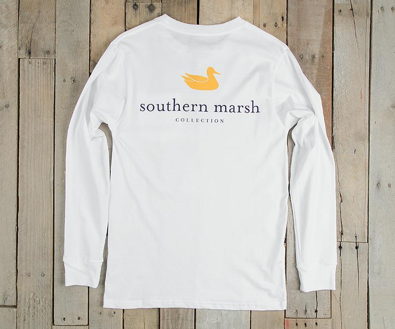 White with Purple and Gold | Authentic Collegiate Tee | Long Sleeve T-Shirt | Cotton Pocket Tee | Southern Duck | LSU Gameday