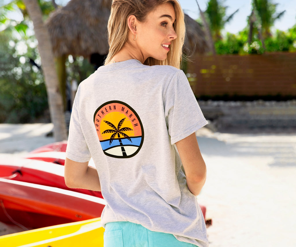 Light Gray | Sunset Palm Tee | Back