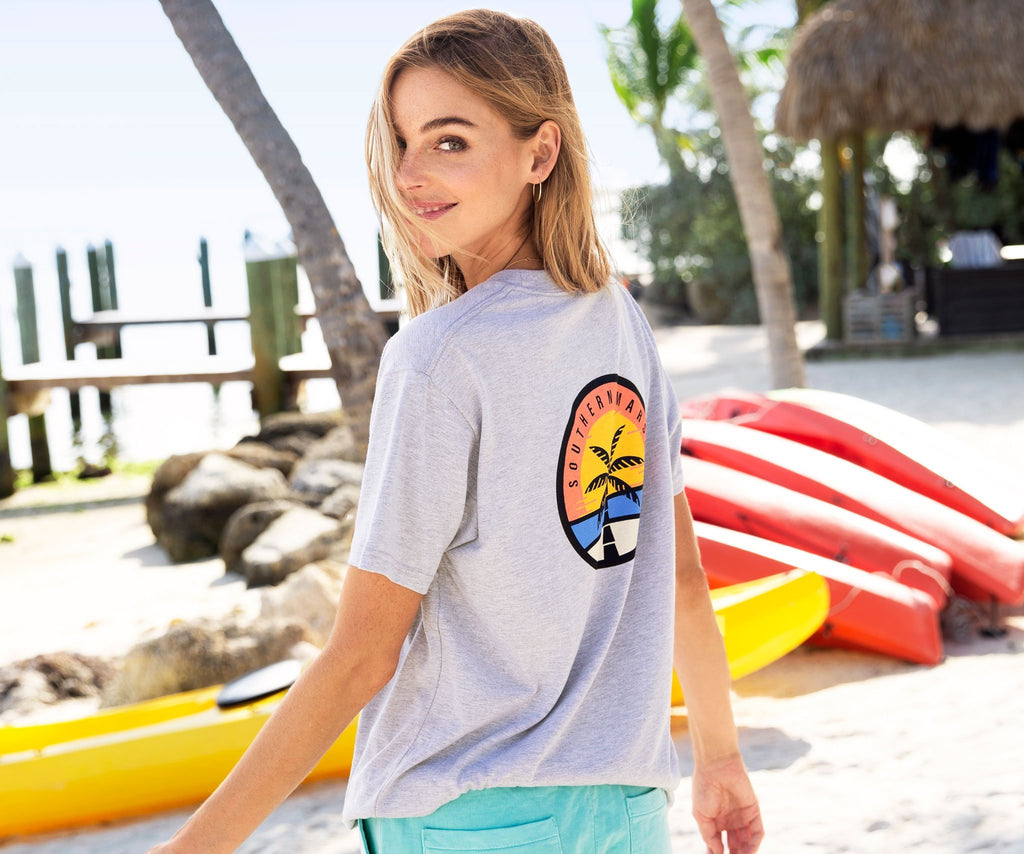 Light Gray | Sunset Palm Tee | Back | Lifestyle