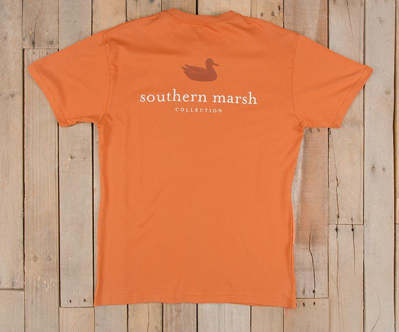 Burnt Orange with White | Authentic Collegiate Tee | Short Sleeve T-Shirt | Cotton Pocket Tee | Southern Duck