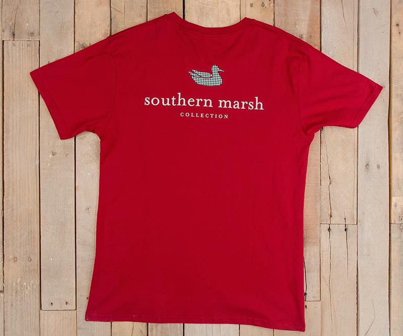 Crimson with Houndstooth | Authentic Collegiate Tee | Short Sleeve T-Shirt | Cotton Pocket Tee | Southern Duck