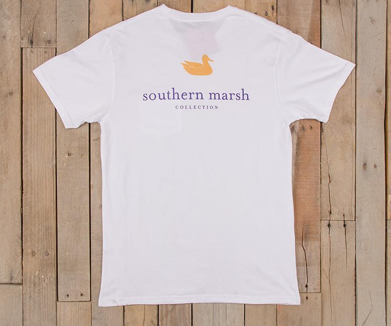 White with Purple-Gold | Authentic Collegiate Tee | Short Sleeve T-Shirt | Cotton Pocket Tee | Southern Duck | LSU Gameday