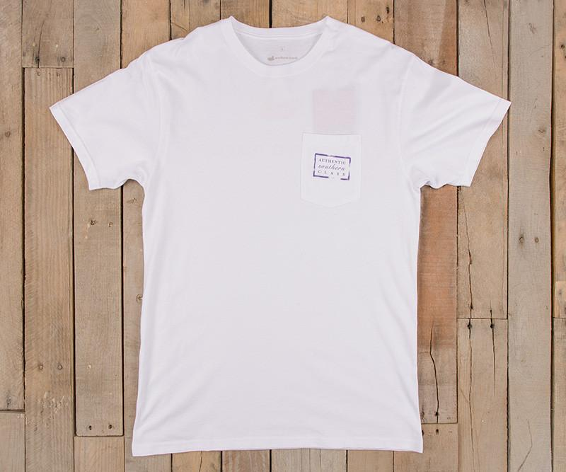 White with Purple-Gold | Authentic Collegiate Tee | Short Sleeve T-Shirt | Cotton Pocket Tee | Southern Duck