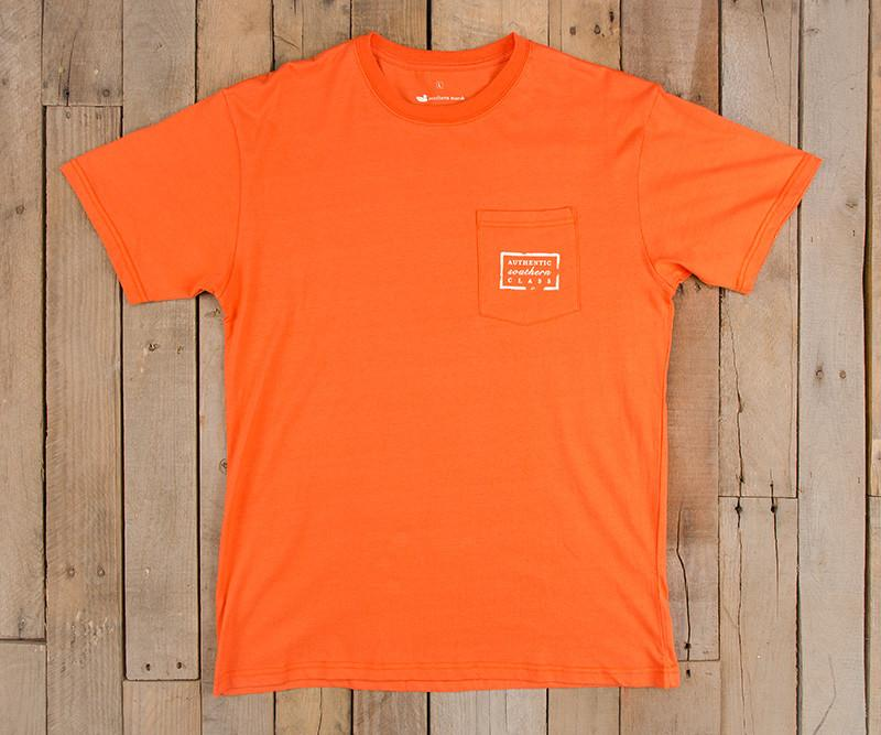 Orange with Purple-White | Authentic Collegiate Tee | Short Sleeve T-Shirt | Cotton Pocket Tee | Southern Duck