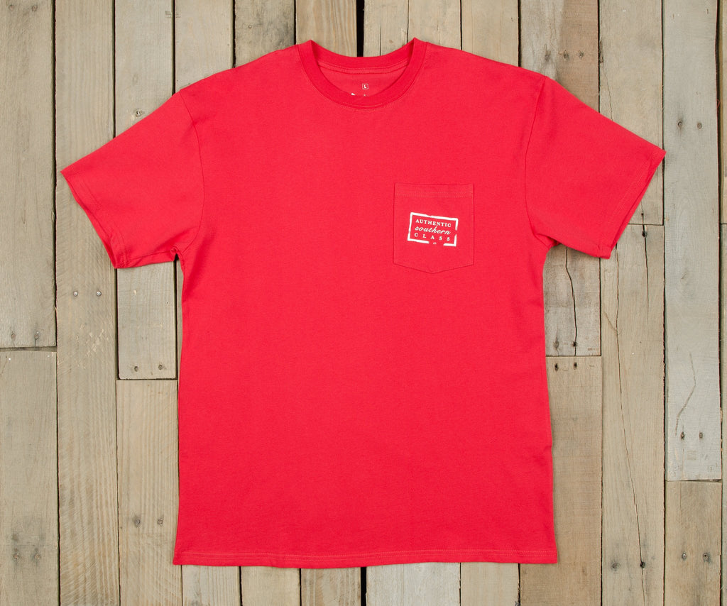 Red with White-Navy | Authentic Collegiate Tee | Short Sleeve T-Shirt | Cotton Pocket Tee | Southern Duck