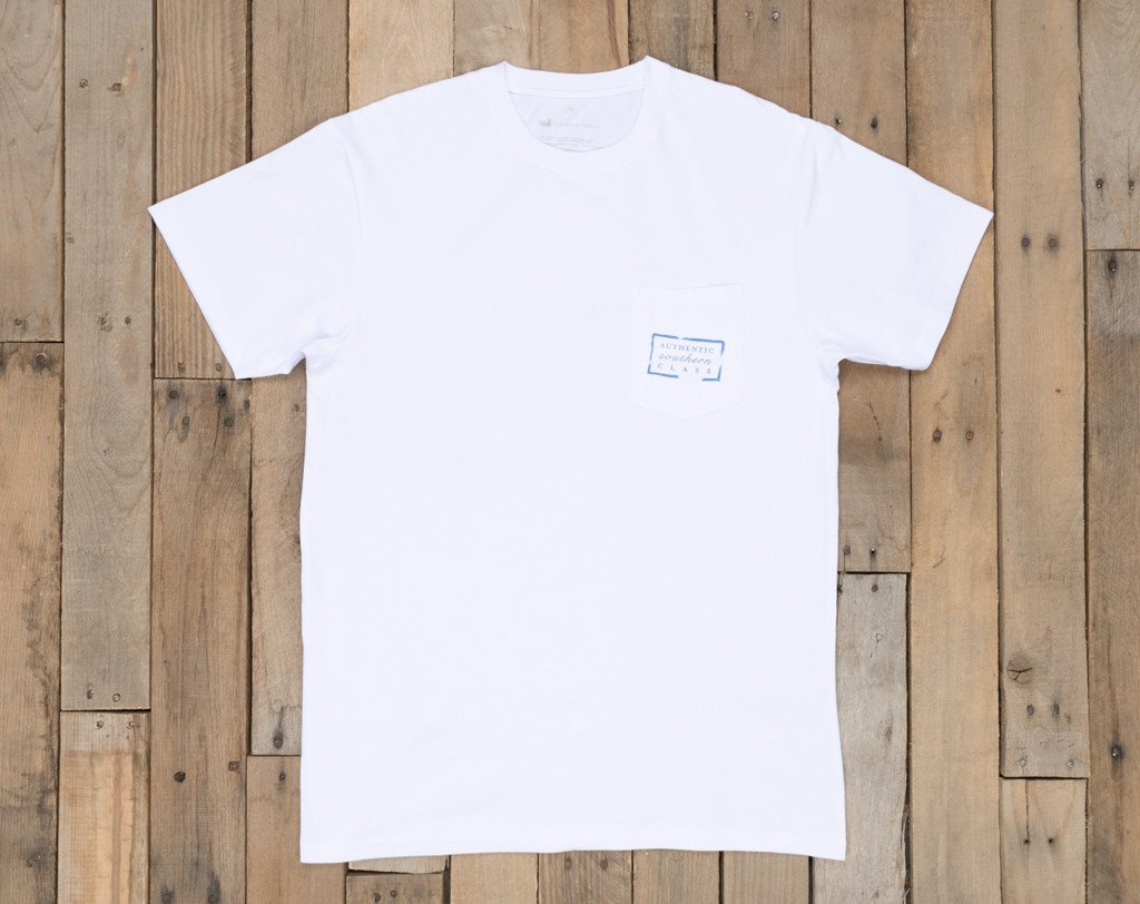 White with Light Blue | Authentic Collegiate Tee | Short Sleeve T-Shirt | Cotton Pocket Tee | Southern Duck