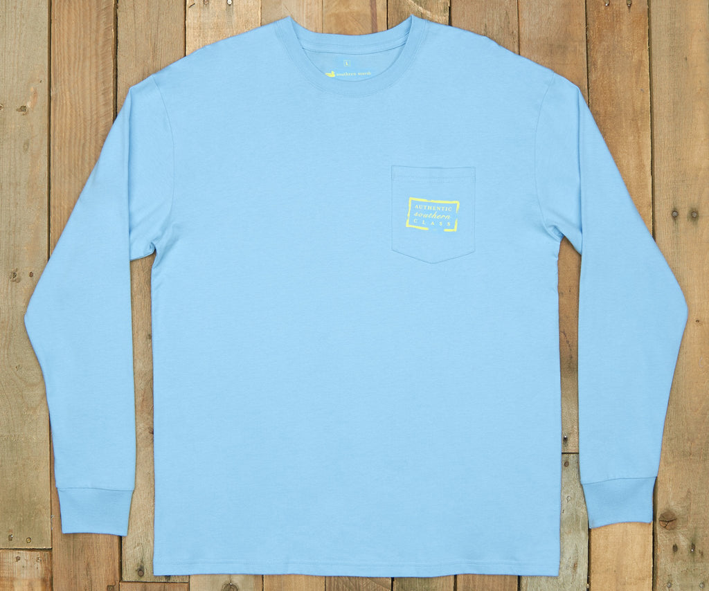 Breaker Blue | Authentic Vibrant Tee | Long Sleeve T-Shirt | Southern Pocket Shirt