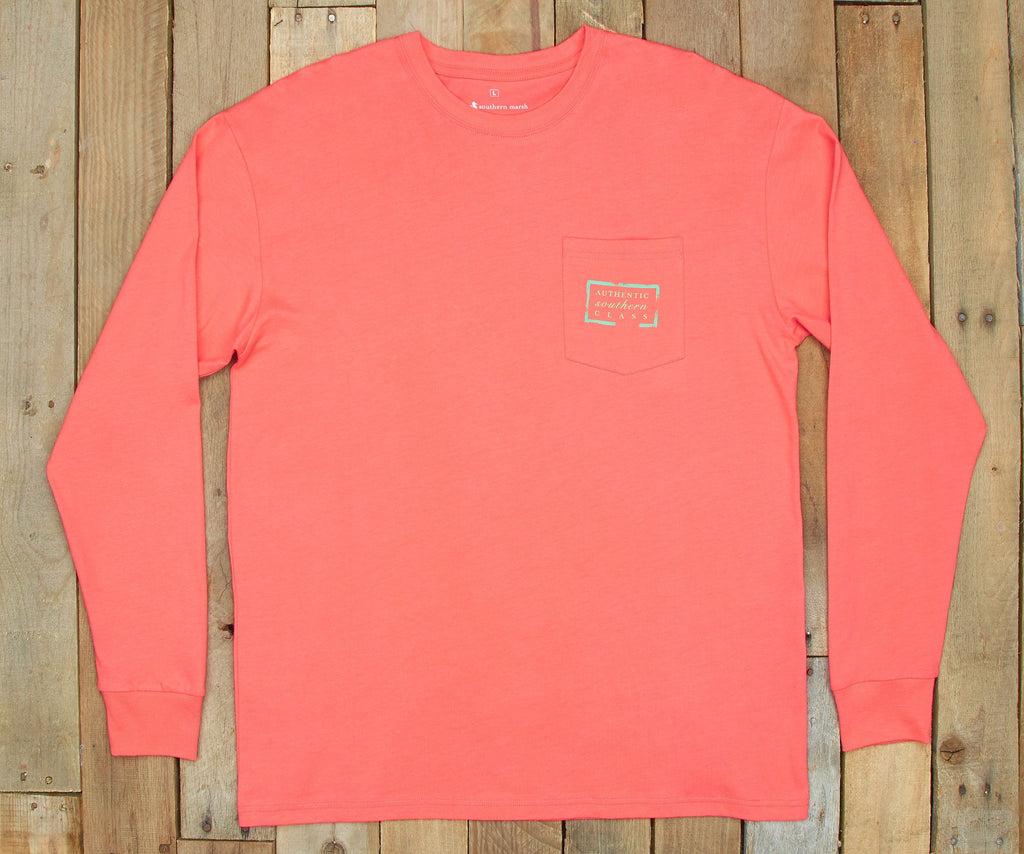 Coral | Authentic Vibrant Tee | Long Sleeve T-Shirt | Southern Pocket Shirt