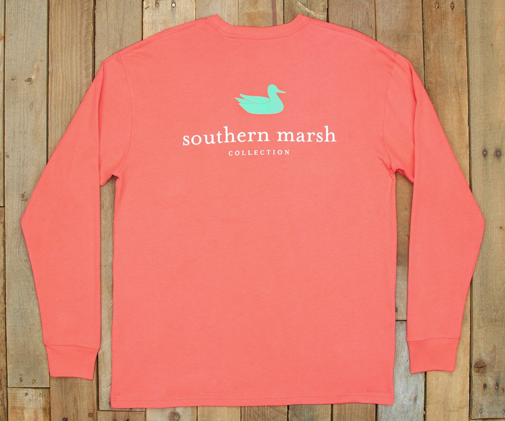 Coral | Authentic Vibrant Tee | Long Sleeve T-Shirt | Southern Duck Shirt