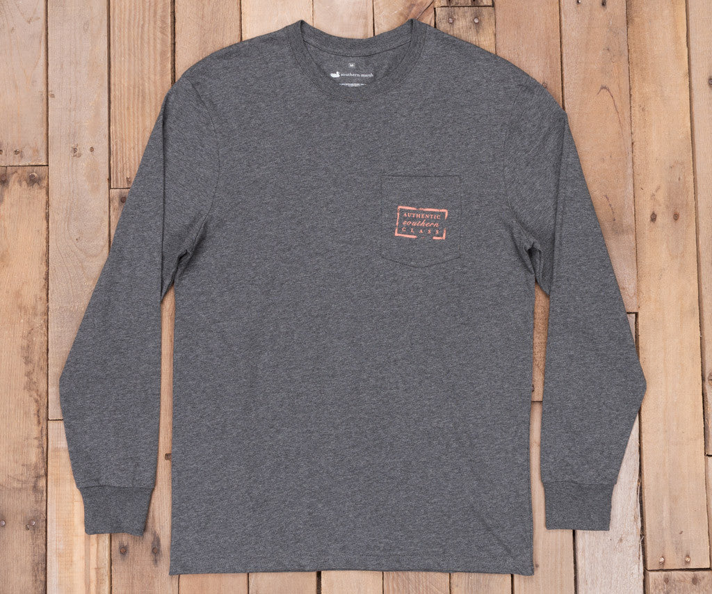 Midnight Gray Heather | Authentic Heathered Tee | Long Sleeve T-Shirt | Southern Front Pocket Shirt