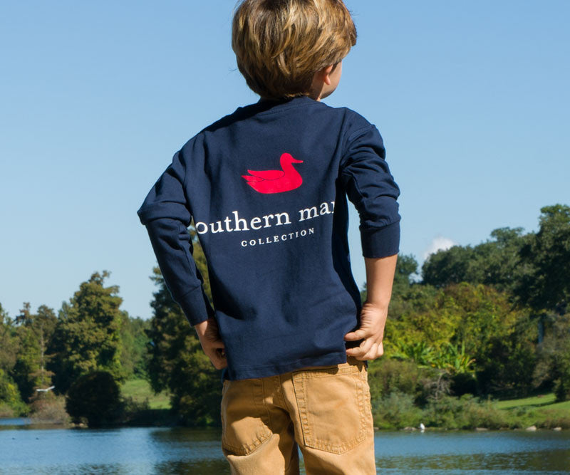 Navy | Youth Authentic Tee | Long Sleeve T-Shirt | Kids Southern Duck Shirt