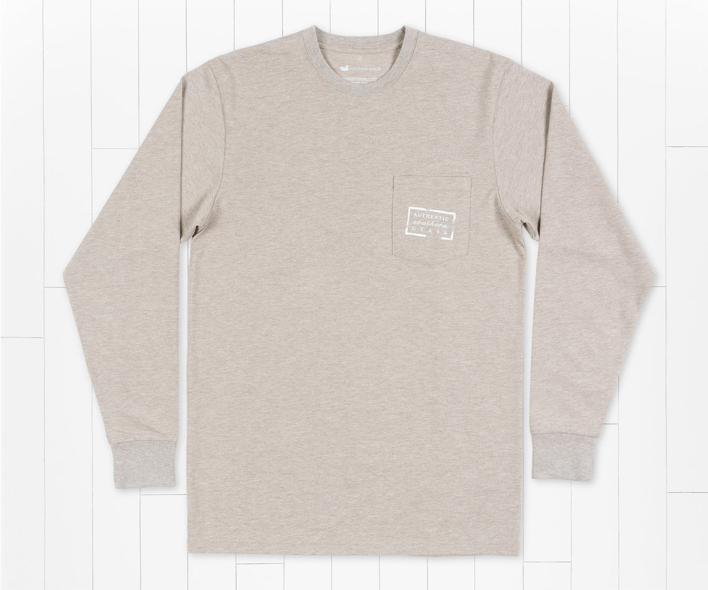 Washed Burnt Taupe | Authentic Heathered Tee | Long Sleeve T-Shirt | Southern Duck Shirt | Pocket Tee