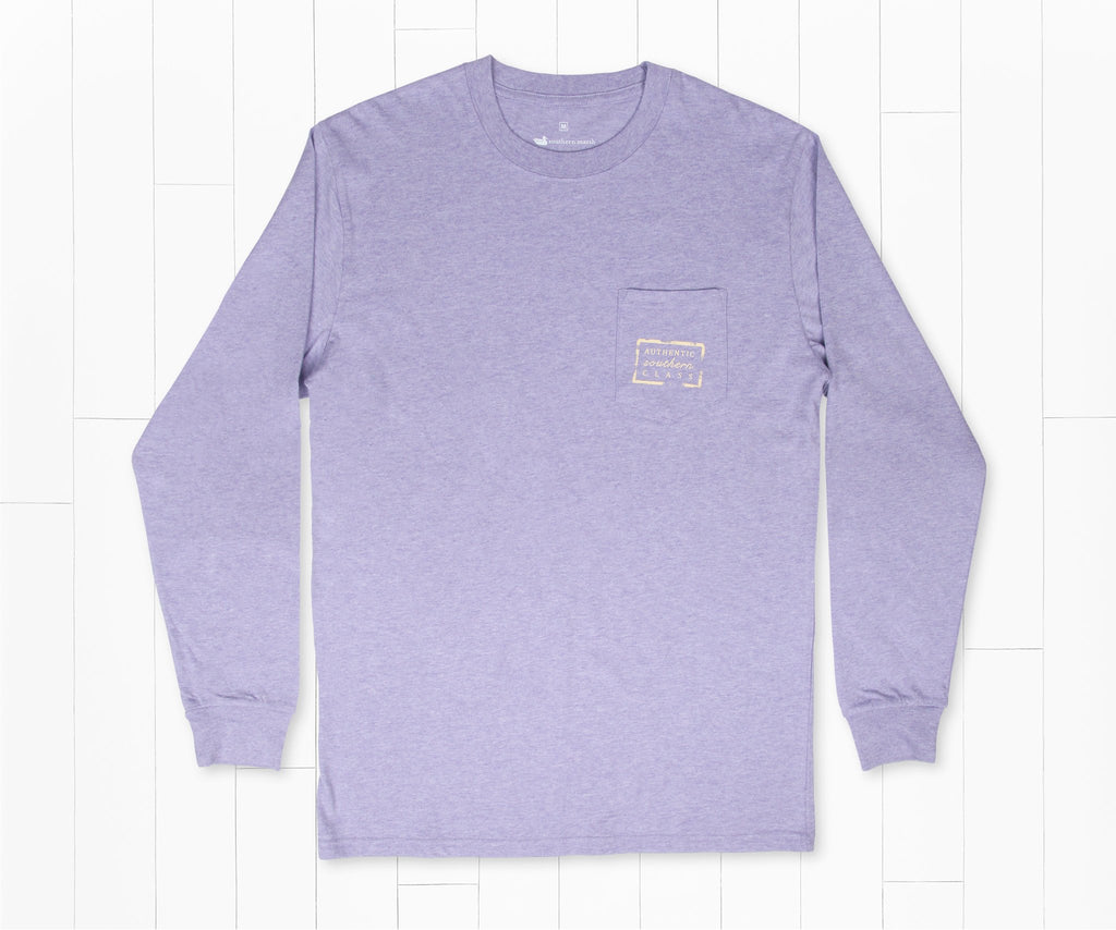 Washed Berry | Authentic Heathered Tee | Long Sleeve T-Shirt | Southern Front Pocket Shirt