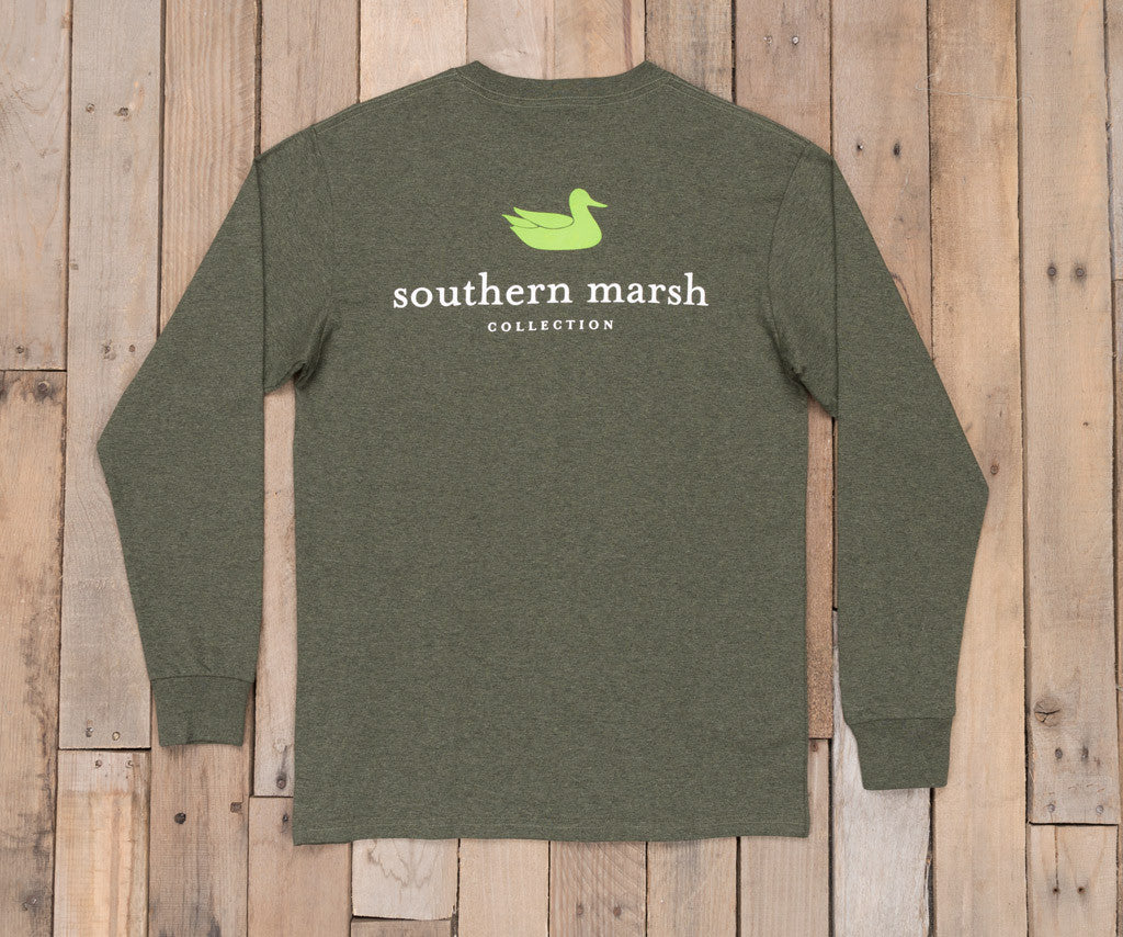 Washed Dark Green Heather | Authentic Heathered Tee | Long Sleeve T-Shirt | Southern Duck Shirt