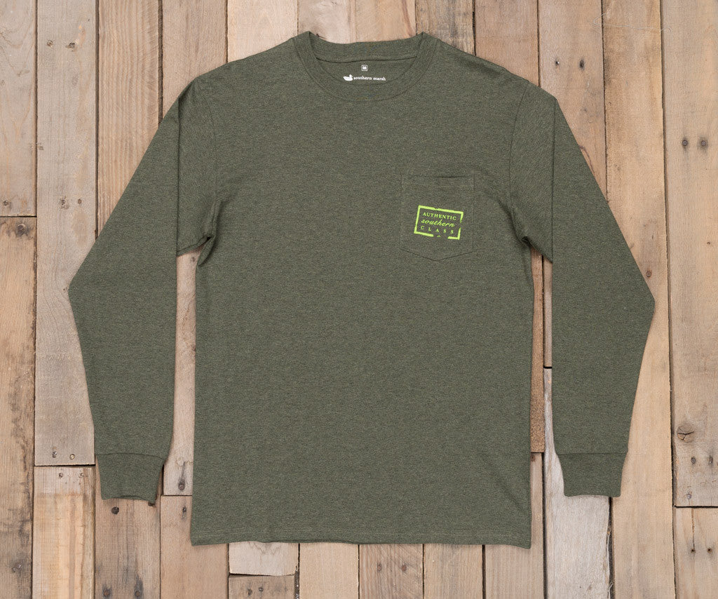 Washed Dark Green Heather | Authentic Heathered Tee | Long Sleeve T-Shirt | Southern Front Pocket Shirt