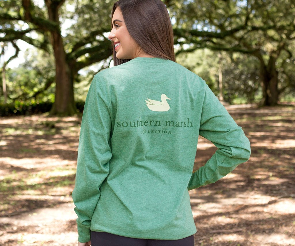 Washed Hunter Green | Authentic Heathered Tee | Long Sleeve T-Shirt | Southern Duck Shirt