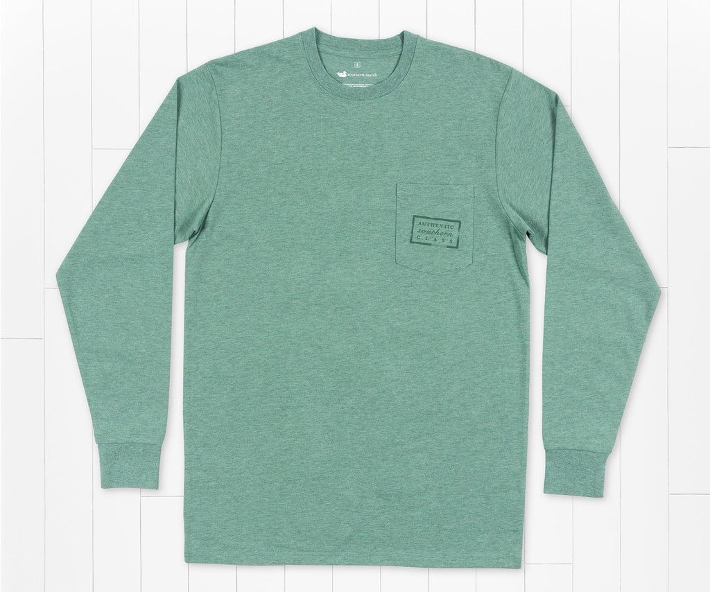 Washed Hunter Green | Authentic Heathered Tee | Long Sleeve T-Shirt | Front Pocket Shirt | Front
